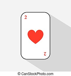 poker card. TWO HEART. white background to be easily separable.