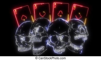 Poker card with skulls. laser animation - Poker card with ...