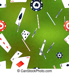 Poker cards and casino chips on green background, seamless pattern