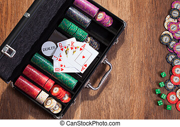 poker cards and chips on background