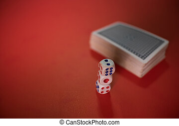 poker cards and dices on table