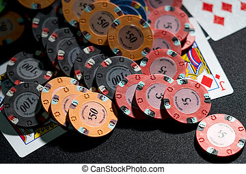 Poker cards at the casino
