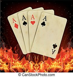 Poker cards burning fire