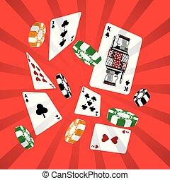 poker cards casino chip gambling design red background