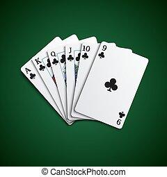 Poker cards flush acorns hand