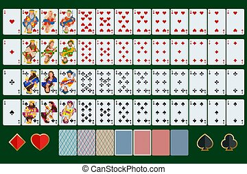 Poker cards full set with isolated cards on green background