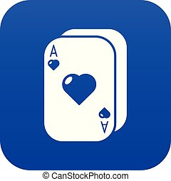 Poker cards icon blue vector