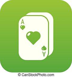 Poker cards icon green vector