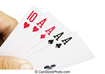 Poker cards in the hand