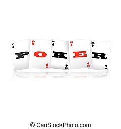 Poker Cards Logo - Playing cards spelling Poker logo vector...