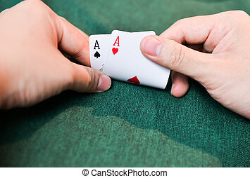 Poker Cards on hands
