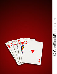 Poker cards isolated, clipping path excludes the shadow.