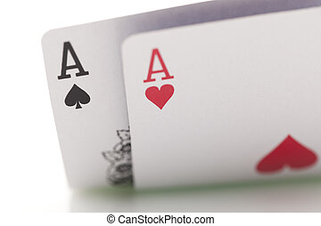 Poker cards - Close-up of poker cards on white background