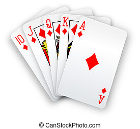 Poker cards Straight Flush Diamonds hand - Royal straight...