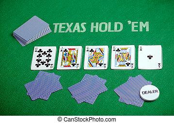 Poker cards Texas Hold em - Poker cards on green poker cloth...