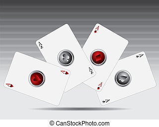 Poker cards with 3d buttons