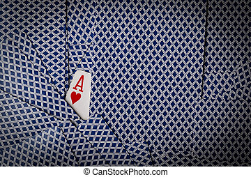 poker cards with ace of hearts showing