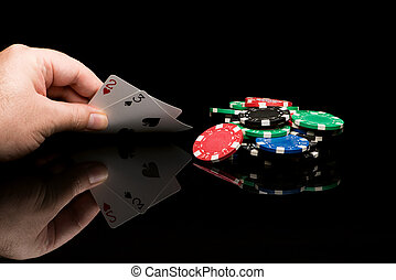 Poker cards with hand