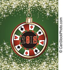 Poker casino chip, new year 2018. vector illustration