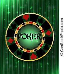 Poker casino chip, vector illustration