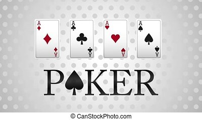Poker casino game concept HD animation - Poker cards over...