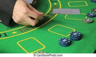 poker, casino, joueur, mains, table, jeu carte