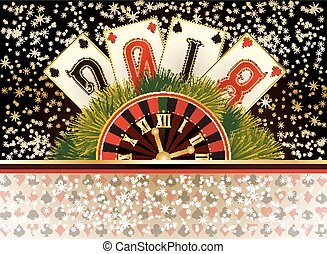 Poker casino new 2018 year wallpaper, vector illustration