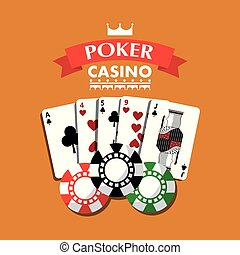 poker casino playing cards combination chips banner