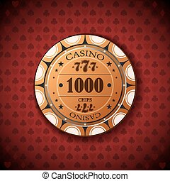 Poker chip 1000 on red background