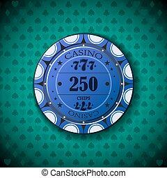 Poker chip 250 on blue background