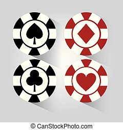 poker chip black and red gamble elements icon vector...