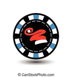 Poker chip Christmas. Blue. Cap of Santa Claus in the middle. Illustration vector. Use for the site, printing, paper, cloth, decoration, design, etc. EPS 10