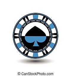 Poker chip Christmas. Blue. With the spade suit in the middle and on the sides of trees  Illustration vector. Use for the site, printing, paper, cloth, decoration, design, etc. EPS 10
