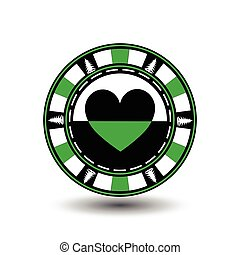 Poker chip Christmas. Green. From the heart of the suit in the middle and on the sides  trees  Illustration vector. Use for the site, printing, paper, cloth, decoration, design, etc. EPS 10