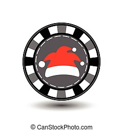poker chip Christmas new year. Cap Santa Claus red gray featureIcon EPS 10 vector illustration on a white background to separate easily. Use for websites, design, decoration, printing, etc.