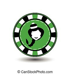 poker chip Christmas new year. Girl Santa Claus in black and green Icon EPS 10 vector illustration on a white background to separate easily. Use for websites, design, decoration, printing, etc.