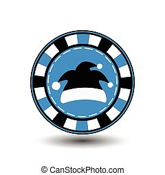 poker chip Christmas new year. Santa Claus cap black blue Icon EPS 10 vector illustration on a white background to separate easily. Use for websites, design, decoration, printing, etc.