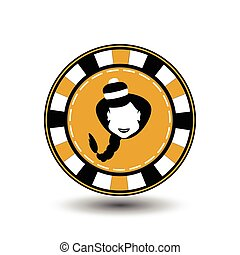 poker chip Christmas new year. Santa Claus girl in black and yellow . Icon EPS 10 vector illustration on a white background to separate easily. Use for websites, design, decoration, printing, etc.