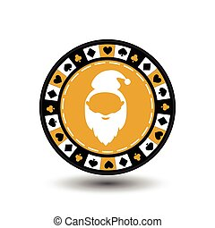 poker chip Christmas new year. Santa Claus yellow circle around the diamond, heart, club, spade. Icon on a white background to separate easily. Use for websites, design, decoration, printing, etc.
