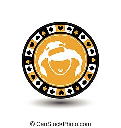 poker chip Christmas new year.Girl Santa Claus yellow circle around the diamond, heart, club, spade. Icon EPS 10 vector illustration on a white background to separate easily. Use for websites, design, decoration, printing, etc.