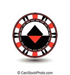 Poker chip Christmas. Red. With diamond suit in the middle and on the sides of trees  Illustration vector. Use for the site, printing, paper, cloth, decoration, design, etc. EPS 10