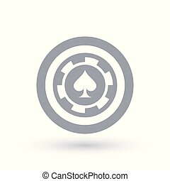 Poker chip icon. Ace of spades token symbol.