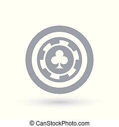 Poker chip icon. Club token symbol. Gambling sign in circle...