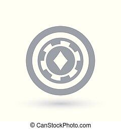 Poker chip icon. Diamond token symbol. Gambling sign in...