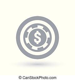 Poker chip icon. Dollar token symbol. Gambling money sign in...