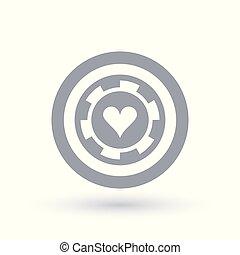 Poker chip icon. Heart token symbol. Gambling sign in circle...