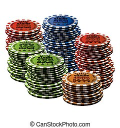 Poker chip many isolated on white