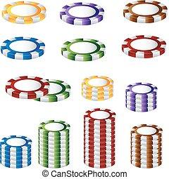 A 3D image of a poker chip set.