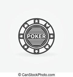 Poker chip vector icon or black logo