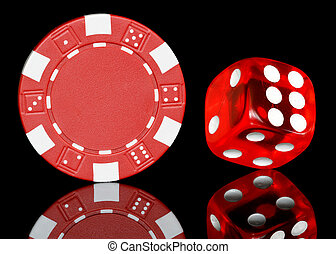 poker chip with dice